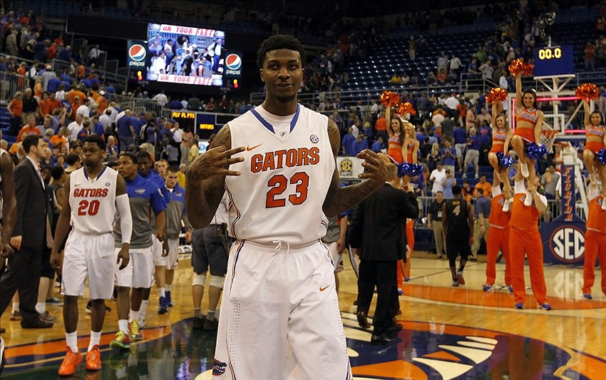 Feb 4, 2014; Gainesville, FL, USA; Feb 4, 2014; Gainesville, FL, USA; Florida Gators forward Chris Walker (23) reacts after beating the Missouri Tigers at Stephen C. O