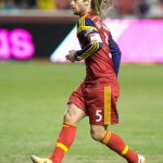 Mar 29, 2014; Sandy, UT, USA; Real Salt Lake midfielder Kyle Beckerman (5) during the second half against Toronto FC at Rio Tinto Stadium. Real Salt Lake won 3-0. Mandatory Credit: Russ Isabella-USA TODAY Sports