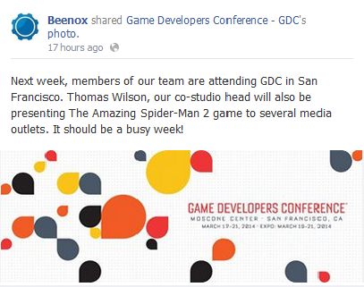 Beenox's Facebook announcement that they're attending the Games Developers Conference