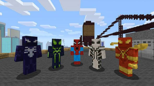 Spider-Man suits available in the Minecraft Spider-Man skin-pack