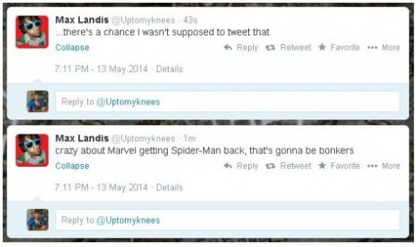 Max Landis' tweets revealing Spider-Man is Marvel's via Bleeding Cool