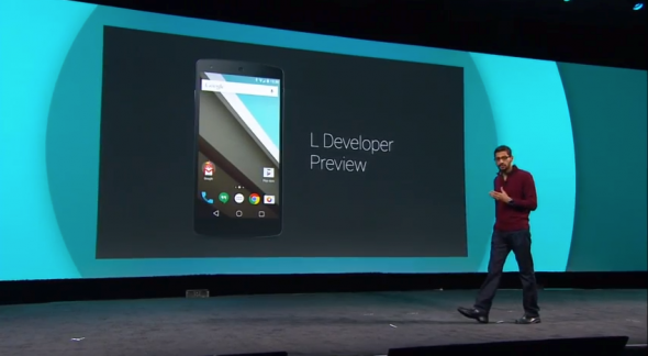 Sundar Pichai introduces the L Developer Preview.