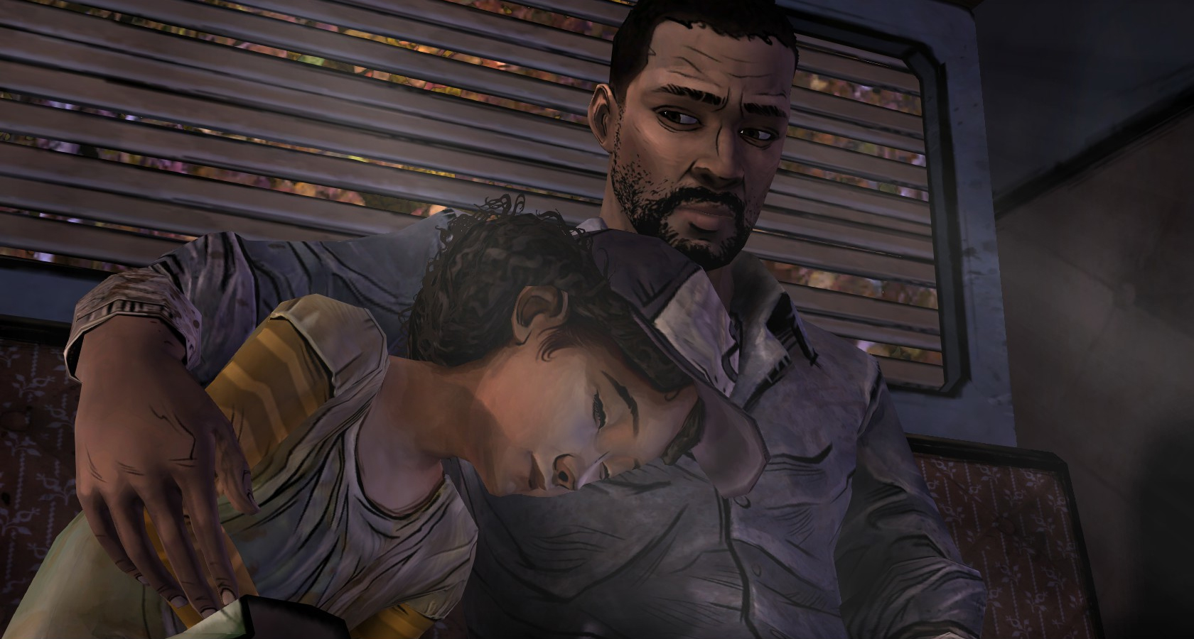 Lee and Clementine in the Trailer