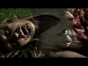 The mother after being torn in half by walkers.