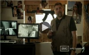BJ with a drink while watching security footage in Cold Storage webisode The Chosen Ones