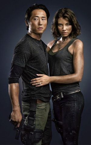 Glenn and Maggie from The Walking Dead in a promotional photo shoot.