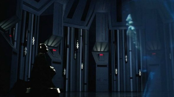 Darth Vader kneeling before Darth Sidious, from Star Wars: Episode V