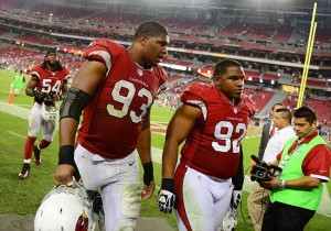 Oct. 29, 2012; Glendale, AZ, USA; Arizona Cardinals defensive end (93) Calais Campbell and defensive tackle (92) Dan WIlliams against the San Francisco 49ers at University of Phoenix Stadium. The 49ers defeated the Cardinals 24-3. Mandatory Credit: Mark J. Rebilas-USA TODAY Sports