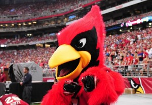 Sep 15, 2013; Phoenix, AZ, USA; Arizona Cardinals mascot Big Red poses for a picture during the fourth quarter against the Detroit Lions at University of Phoenix Stadium. Mandatory Credit: Jennifer Hilderbrand-USA TODAY Sports