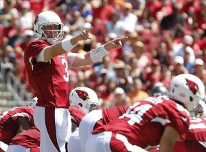 Sep 29, 2013; Tampa, FL, USA; Arizona Cardinals quarterback Carson Palmer (3) calls a play during the first quarter against the Tampa Bay Buccaneers at Raymond James Stadium. Mandatory Credit: Kim Klement-USA TODAY Sports