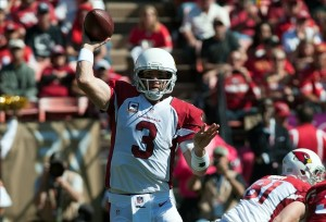 Oct 13, 2013; San Francisco, CA, USA; Arizona Cardinals quarterback Carson Palmer (3) throws a pass against the San Francisco 49ers during the first quarter at Candlestick Park. Mandatory Credit: Ed Szczepanski-USA TODAY Sports