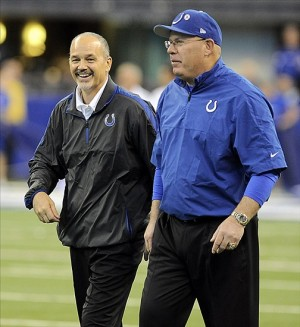 Dec. 30, 2012; Indianapolis, IN, USA; Indianapolis Colts head coach Chuck Pagano and offensive coordinator Bruce Arians talk during pre-game against the Houston Texans at Lucas Oil Stadium. Mandatory Credit: Thomas J. Russo-USA TODAY Sports