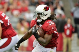 Oct 27, 2013; Phoenix, AZ, USA; Arizona Cardinals running back Andre Ellington (38) carries the ball during the first half against the Atlanta Falcons at University of Phoenix Stadium. Mandatory Credit: Matt Kartozian-USA TODAY Sports