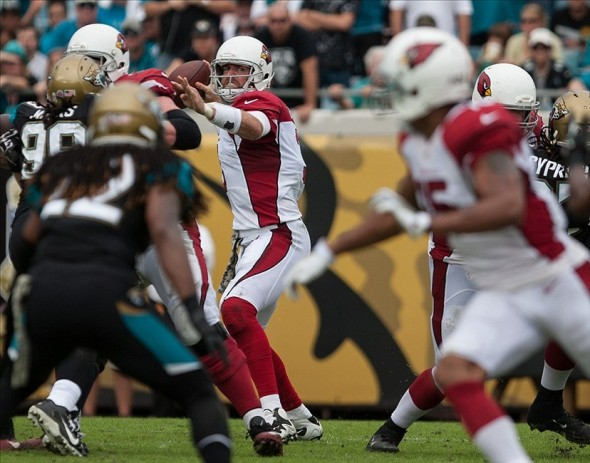 Nov 17, 2013; Jacksonville, FL, USA; Arizona Cardinals quarterback Carson Palmer (3) looks to throw during the first half of the game against the Jacksonville Jaguars at EverBank Field. Mandatory Credit: Rob Foldy-USA TODAY Sports