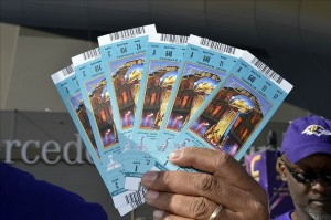 Feb 3, 2013; New Orleans, LA, General view of Super Bowl XLVII tickets outside the Mercedes-Benz Superdome. Mandatory Credit: Kirby Lee-USA TODAY Sports
