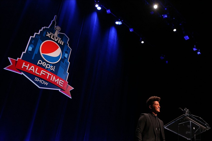Jan 30, 2014; New York, NY, USA; Recording artist Bruno Mars addresses the media during a Halftime Show press conference for Super Bowl XLVIII at Rose Theater. Mandatory Credit: Brad Penner-USA TODAY Sports