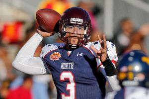 Jan 25, 2014; Mobile, AL, USA; North squad quarterback Logan Thomas of Virginia Tech (3) throws against the South squad during the first half of a game at Ladd-Peebles Stadium. Mandatory Credit: Derick E. Hingle-USA TODAY Sports