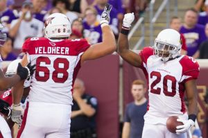 Aug 16, 2014; Minneapolis, MN, USA; Arizona Cardinals running back Jonathan Dwyer (20) celebrates with offensive lineman Jared Veldheer (68) after scoring a touchdown in the first quarter against the Minnesota Vikings at TCF Bank Stadium. Mandatory Credit: Brad Rempel-USA TODAY Sports