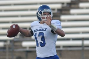 DAILY PENINSULA/Brandon Folsom -- Hillsdale College redshirt freshman quarterback Joe Kendzicky attempts a pass during the team's annual spring game on Thursday, April 17, 2014.