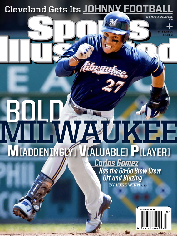 Milwaukee Brewers center fielder Carlos Gomez is featured on one of two regional covers of the May 19 edition of Sports Illustrated.