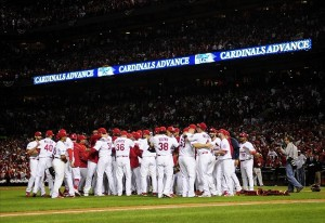 Oct 9, 2013; St. Louis, MO, USA; The St. Louis Cardinals celebrate defeating the Pittsburgh Pirates in game five of the National League divisional series playoff baseball game at Busch Stadium. The Cardinals won 6-1. Image Credit: Jeff Curry-USA TODAY Sports
