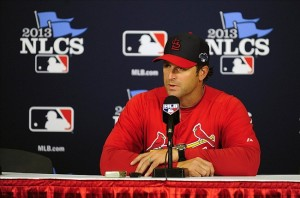 Oct 10, 2013; St. Louis, MO, USA; St. Louis Cardinals manager Mike Matheny (22) talks with the media after practice for game one of the National League Championship Series against the Los Angeles Dodgers at Busch Stadium. Image Credit: Jeff Curry-USA TODAY Sports