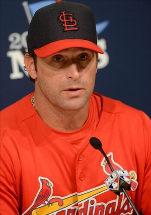 Oct 13, 2013; Los Angeles, CA, USA; St. Louis Cardinals manager Mike Matheny (22) during a press conference on the day before game three of the National League Championship Series against the Los Angeles Dodgers at Dodger Stadium. Image Credit: Jayne Kamin-Oncea-USA TODAY Sports
