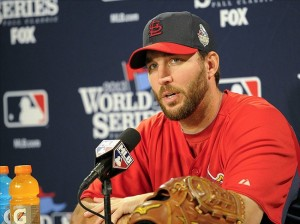 Oct 22, 2013; Boston, MA, USA; St. Louis Cardinals starting pitcher Adam Wainwright (50) speaks to the media on the day before game one of the World Series against the Boston Red Sox at Fenway Park. Image Credit: Bob DeChiara-USA TODAY Sports