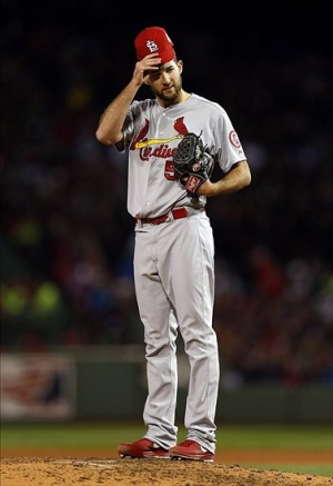 Oct 24, 2013; Boston, MA, USA; St. Louis Cardinals starting pitcher Michael Wacha (52) reacts during the fourth inning of game two of the MLB baseball World Series against the Boston Red Sox at Fenway Park. Image Credit: Greg M. Cooper-USA TODAY Sports