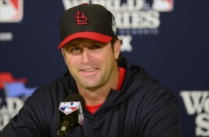 Oct 25, 2013; St. Louis, MO, USA; St. Louis Cardinals manager Mike Matheny (22) talks with the media during a press conference a day before game three of the World Series against the Boston Red Sox at Busch Stadium. Image Credit: Jeff Curry-USA TODAY Sports