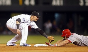 Sep 18, 2013; Denver, CO, USA; Colorado Rockies shortstop Troy Tulowitzki (left) is unable to make the tag in time as St. Louis Cardinals left fielder Matt Holiday (right) slides into second base for a double during the fifth inning at Coors Field. Image Credit: Chris Humphreys-USA TODAY Sports