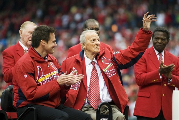 April 13, 2012; St. Louis, MO. USA; St. Louis Cardinals hall of famer Stan Musial waves to the crowd during an opening day ceremony before a game against the Chicago Cubs at Busch Stadium. Chicago defeated St. Louis 9-5. Image Credit: Jeff Curry-USA TODAY Sports