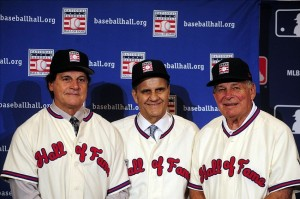 Dec 9, 2013; Orlando, FL, USA; Newly-inducted Baseball Hall of Fame managers Tony La Russa, Joe Torre and Bobby Cox (l-r) pose for a photo during the MLB Winter Meetings at Walt Disney World Swan and Dolphin. Image Credit: David Manning-USA TODAY Sports