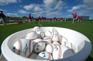 Feb 18, 2013; St. Louis, MO, USA; St. Louis Cardinals players stretch before Spring Training workouts at Roger Dean Stadium. Image Credit: Scott Rovak-USA TODAY Sports