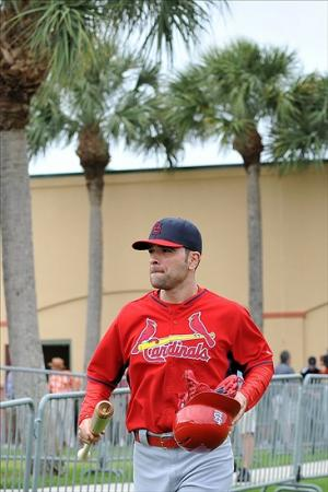 Feb 13, 2014; Jupiter, FL, USA; St. Louis Cardinals starting pitcher Jaime Garcia (54) talks the field during spring training at Roger Dean Stadium. Image Credit: Steve Mitchell-USA TODAY Sports