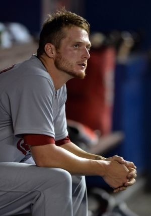 Aug 11, 2014; Miami, FL, USA; St. Louis Cardinals starting pitcher Shelby Miller (40) looks on during the fifth inning against the Miami Marlins at Marlins Ballpark. Marlins won 6-5. Mandatory Credit: Steve Mitchell-USA TODAY Sports