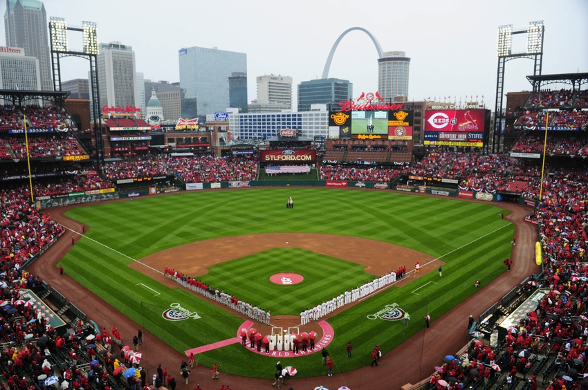 Apr 7, 2014; St. Louis, MO, USA; A general view of Busch Stadium on Opening Day between the St. Louis Cardinals and the Cincinnati Reds. Mandatory Credit: Jeff Curry-USA TODAY Sports