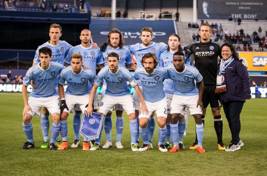 Apr 10, 2016; New York, NY, USA; New York City FC players pose for a photo before the match against the Chicago Fire at Yankee Stadium. NYCFC and Chicago played to a 0-0 tie. Mandatory Credit: Vincent Carchietta-USA TODAY Sports