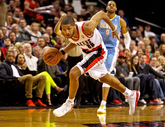 Feb 27, 2013; Portland, OR, USA; Portland Trail Blazers small forward Nicolas Batum (88) leads a fast break against the Denver Nuggets at the Rose Garden. Mandatory Credit: Craig Mitchelldyer-USA TODAY Sports