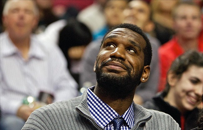 Apr 3, 2013; Portland, OR, USA; Portland Trail Blazers former center Greg Oden smiles while watching the Trail Blazers play against the Memphis Grizzlies at the Rose Garden. Mandatory Credit: Craig Mitchelldyer-USA TODAY Sports