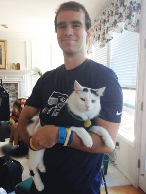 Jason Hortsch and his cat Riley