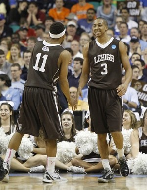 Mar 16, 2012; Greensboro, NC, USA; Lehigh Mountain Hawks guards Mackey McKnight (11) and C.J. McCollum (3) react in the second half. The Mountain Hawks defeated the Blue Devils 75-70 in the second round of the 2012 NCAA men
