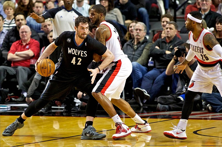 Jan 25, 2014; Portland, OR, USA; Minnesota Timberwolves power forward