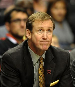 Dec 6, 2013; Portland, OR, USA; Portland Trail Blazers head coach Terry Stotts watches the action from the bench during the fourth quarter of the game against the Utah Jazz at the Moda Center. The Blazers won the game 130-98. Mandatory Credit: Steve Dykes-USA TODAY Sports