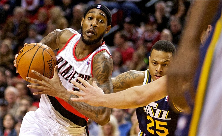 Feb 21, 2014; Portland, OR, USA; Portland Trail Blazers shooting guard Will Barton (5) drives past Utah Jazz shooting guard Brandon Rush (25) during the second quarter at the Moda Center. Mandatory Credit: Craig Mitchelldyer-USA TODAY Sports