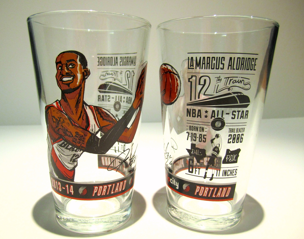 LaMarcus Aldridge promotional drinking glass