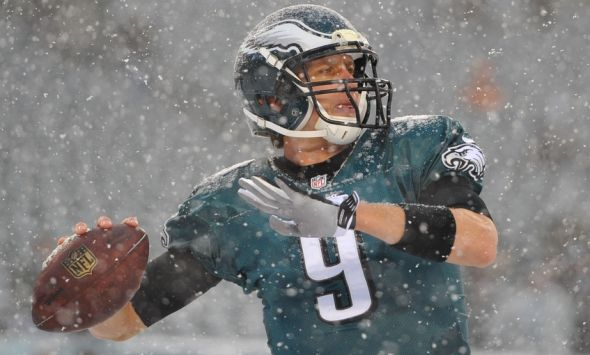 Dec 8, 2013; Philadelphia, PA, USA; Philadelphia Eagles quarterback Nick Foles (9) warming up prior to the game against the Detroit Lions at Lincoln Financial Field. Mandatory Credit: Jeffrey G. Pittenger-USA TODAY Sports