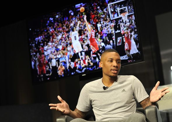 Las Vegas, Nevada (July 27, 2014) – Damian Lillard of the Portland Trail Blazers discusses the new Crazy Light Boost at the adidas Basketball Boost launch event at the MGM Grand Garden Arena.