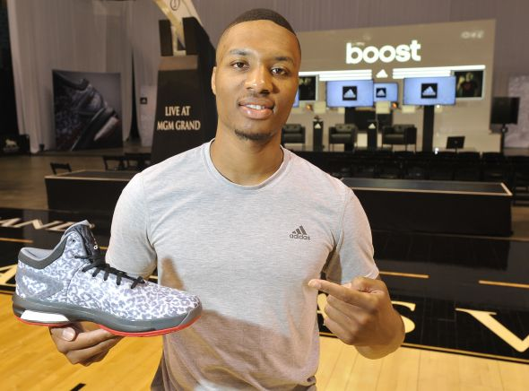 Las Vegas, Nevada (July 27, 2014) – Damian Lillard of the Portland Trail Blazers unveils the new Crazy Light Boost at the adidas Basketball Boost launch event at the MGM Grand Garden Arena.