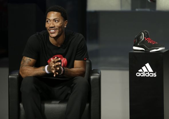 Las Vegas, Nevada (July 27, 2014) – Derrick Rose of the Chicago Bulls discusses the new adidas D Rose 5 Boost at the adidas Basketball Boost launch event at the MGM Grand Garden Arena.